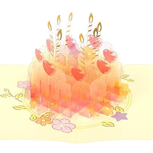 eZAKKA Happy Birthday Cake Pop Up Card 3D Greeting Card Best Birthday Card for Girls, Girlfriend, Wife, Mom