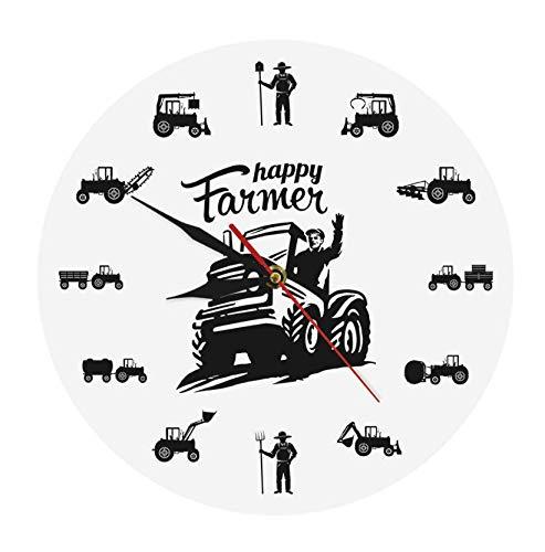 Reloj de acrílico Happy Farmers, máquinas agrícolas, Trac