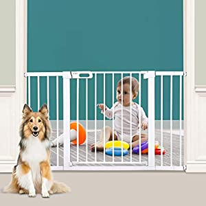 51.6 Inch Baby Gate, Dog Gates for Stairs, Baby Gates Extra Wide, Pet Gate for Doorways, Auto Close Baby Gates for Kids or Pets, Baby Fence, Includes 3.9″, 6.7″ and 12.2″ Extension Kit, Mounting Kit