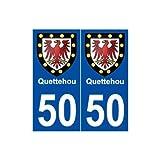 50 Quettehou blason autocollant plaque stickers ville - droits