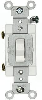 Leviton 12021-2W 3-Amp, 24 Volt AC/DC, Toggle Single-Pole, Industrial Grade, Self-Grounding, White
