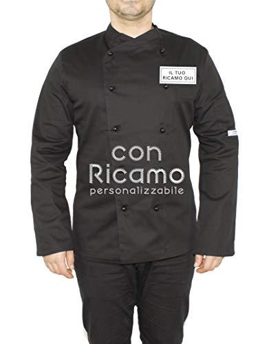 Giacca Cuoco Ricamata con Nome Personalizzabile Online Modello Panama Slim Elasticizzato Nero Isacco (L)