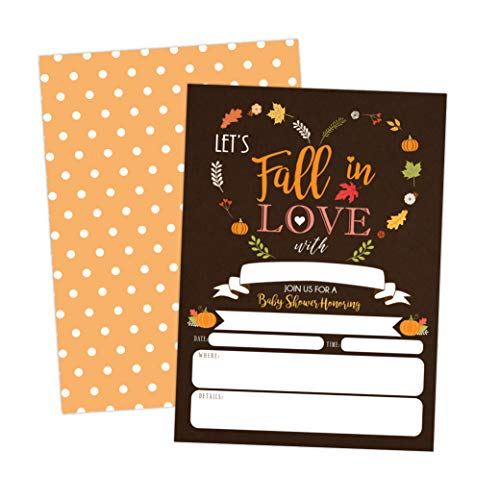 Pumpkin Fall in Love Baby Shower Invitations, Autumn Fall Leaves...