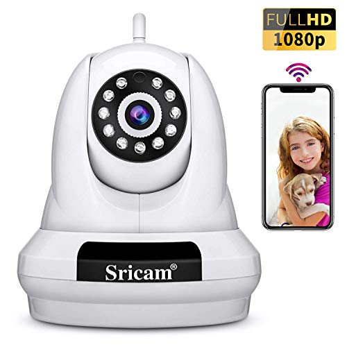 Sricam SP018 Wireless Security Camera 1080p HD WiFi IP Surveillance Camera with Two Way Audio,Motion Detection,Night Verison Support NVR/DVR for Home/Office/Baby/Nanny/Pet Monitor MicroSD Recording