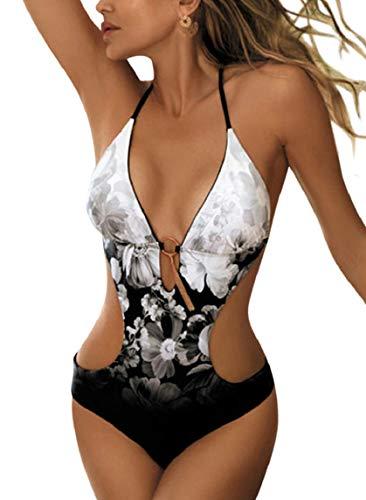 Badeanzug Damen High Waist Bikini Push Up Oneill Bademode Strandkleidung Floral Metallknopf Neckholder Sexy Bikini High Waist Baywatch Swimsuit