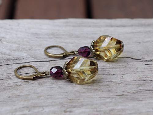 DIE LETZTEN!!! Vintage Ohrringe mit böhmischen Glasperlen - braun, hellbraun, bernsteinfarben, aubergine & bronze