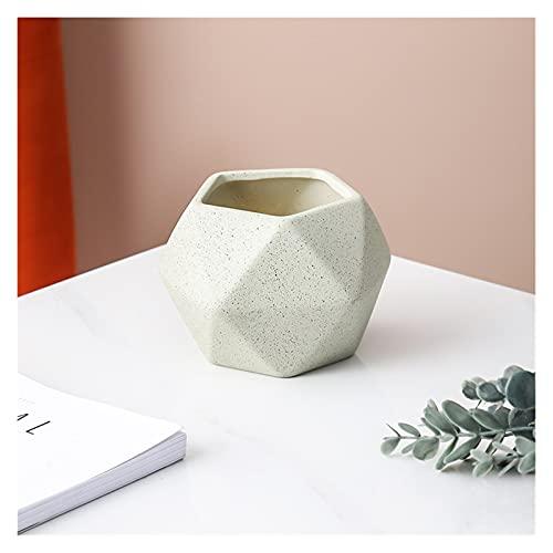 yywl Maceteros Cerámica Creativa Diamante Maceta geométrica Simple Suculento Pote Contenedor Jardines Verdes Pequeños Potes de Bonsai Decoración del hogar (Color : Beige, Sheet Size : D8.2 H8.7CM)
