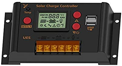 UEIUA Solar Charge Controller, 12V/24V 10A PWM Solar Charge Controller Auto Switch LCD Display Solar Panel Regulator with Dual USB Load Timer Setting ON/Off Hours