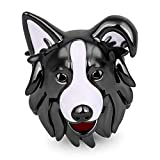 GNOCE 925 Encantos de Plata Esterlina para Perros Negro Blanco Border Collie Charm Beads se Adapta a Todas Las Pulseras y Collares Familiares y Amigos