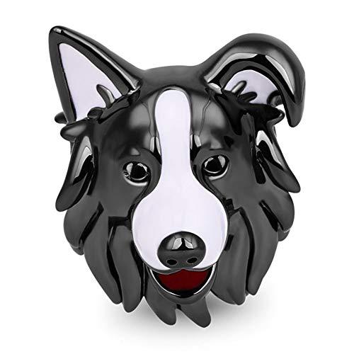 GNOCE 925 Sterling Silber Hund Charms Schwarz Weiß Border Collie Charm Perlen Passt Alle Armbänder und Halsketten Bestes Geschenk für Familie und Freunde