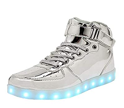WONZOM FASHION High Top LED Light Up Shoes USB Charging Sneakers for Men Women-45(Silver)