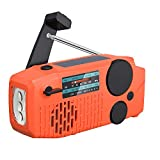 【2021 Newest Model】 Tiemahun Portable Solar Emergency Hand Crank AM FM NOAA Weather Radio for Home Outdoor with LED Flashlight, 2000mAh Power Bank USB Charger, SOS Alarm,Battery Display (Orange)