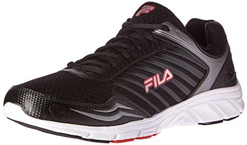 Fila Gamble Zapatillas de correr para hombre, Negro (Negro/Plata metálico/Rojo Fila), 43 EU