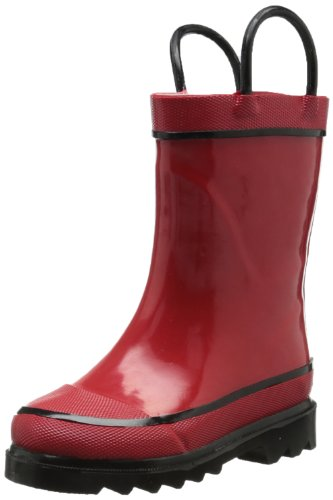 Western Chief Kids Waterproof Rubber Classic Rain Boot with Pull Handles, Red, 4 M US Big Kid
