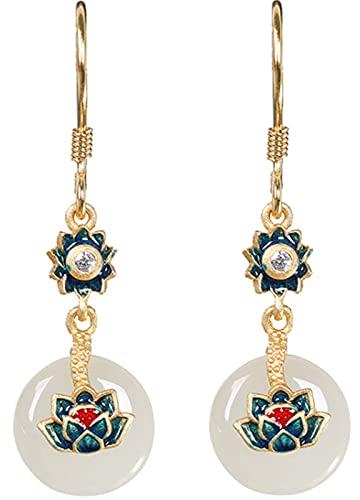 CHXISHOP Pendientes de Mujer 925 Joyas de Plata esterlina Lotus Hetian Jade Pendientes, Pendientes de Gota, luz y fácil de Usar, adecuados para Uso Durante Todo el día Earrings