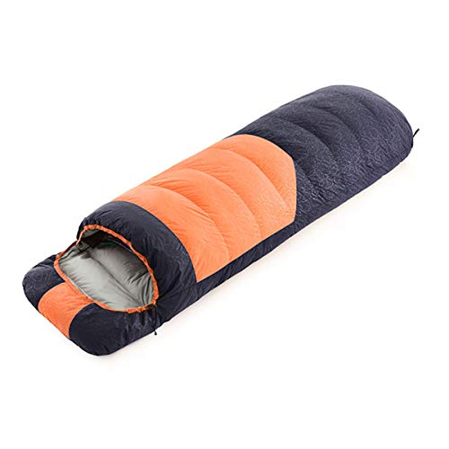 Outdoor Single Ultralight Warm Duck Down Sleeping Bag with Storage Bag for Indoor Outdoor, Traveling, Camping, Backpacking, Hiking,Orange,1KG