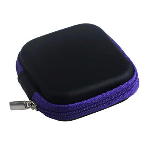 Fulltime® Kunstleder Platz kopfhörer-Tasche Schutztasche Mini Zipper Praktische Tragetasche für In-Ear Kopfhörer Ohrhörer mit SD Card Speicher (Lila)