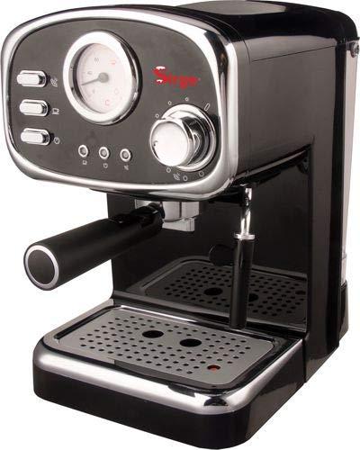 Sirge CREMILDA Caffè Retrò - Macchina per caffè espresso per polvere e cialda ESE, 15 bar [POMPA MADE IN ITALY], 1100W, Serbatoio dell'Acqua 1,25 L Rimovibile • Ugello Vapore Cappuccino, NERA