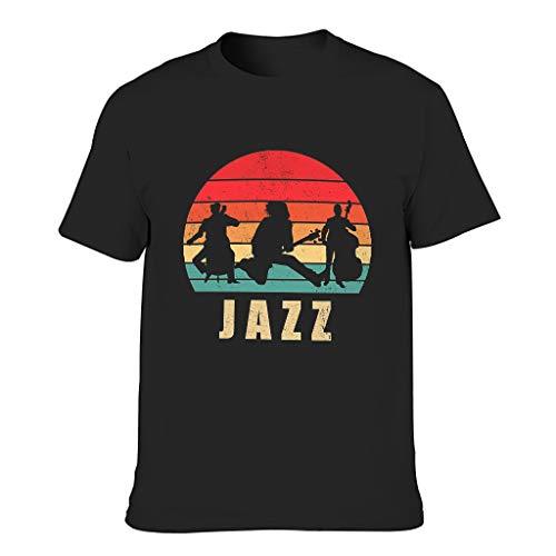 Jazz - Camiseta de manga corta para hombre, diseño divertido y elegante verde militar M