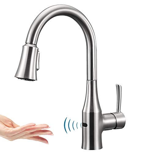 ANZA Touchless Wave Sensor Kitchen Sink Faucet with Pull-Down Dual-Function Sprayer, Modern Automatic High Arc Single Handle Faucet with Pull Out Spray Head, Spot-Free Chrome Finish, Lead Free