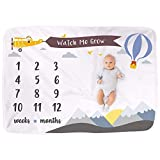 Baby Monthly Milestone Blanket | Gender Neutral Boy Girl Growth Calendar Blanket | Photography Prop Backdrop for Infant Newborn | Baby Shower Gift | Premium Super Soft Extra Large 40 x 60 (Mountains)
