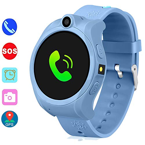 DUIWOIM Smartwatch for Kids GPS Tracker Kids Smart Watch for Girls Boys with SOS Camera Alarm Clock Game 1.44 inch Touch Screen Sport Fitness Tracker Smart Watches(Blue) …