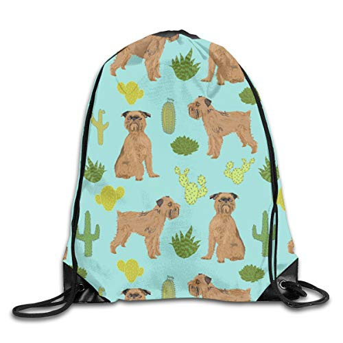 Brussels Griffon Cactus Cute Desert Best Dog And Cactus Tropical Palm Drawstring Gym Bag for Women and Men Polyester Gym Sack String Backpack for Sport Workout, School, Travel, Books 14.17 X 16.9 inch