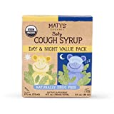 Maty's USDA Organic Baby Cough Syrup Day & Night Value Pack – Gently Soothes & Relieves Baby's Coughs, Naturally – Made with Organic Agave Syrup, Lemon, Cinnamon & More - 2-2fl oz bottles