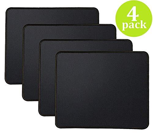 Yojoloin 4PCS Mauspad,Gaming Mauspad mit genähten Kanten, Premium-texturierte Mauspad Pad, rutschfeste Gummibasis Mousepad für Laptop, Computer & PC, 11 x 8,7 Zoll, schwarz