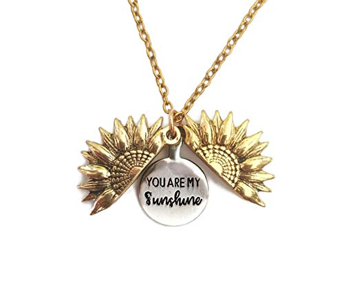 Kpergah You are My Sunshine Engraved Necklace Sunflower Locket Necklace Sunflower Necklace for Women and Girls (Gold)