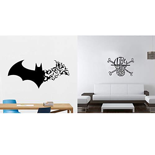JKLKL 2 stijlen elk 2 vellen, Halloween vleermuis schedel muur Stickers, verwijderbare waterdichte behang, woonkamer keuken badkamer Kids slaapkamer