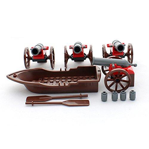 ブロックおもちゃの海賊船と4大砲