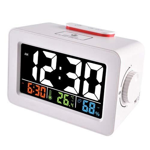 GOGR Reloj Despertador Digital Multifunción Estación Meteorológica Higrómetro Inalámbrico Termómetro Reloj De Mesa De Escritorio Led Multifunción Blanco