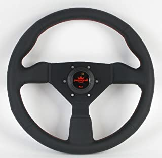 Personal Steering Wheel - Neo Grinta - 330mm (12.99 inches) - Black Leather with Black Spokes/Red Stitching and Red Logo - Part # 6497.33.2090