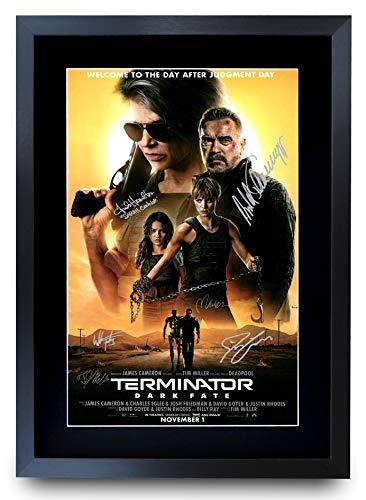 HWC Trading A3 FR Terminator Dark Fate The Cast Arnold Schwarzenegger Gifts - Póster impreso con autógrafo para los fans de la película - Marco A3