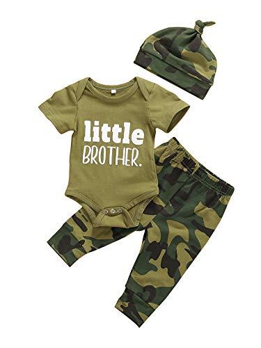 Geagodelia Babykleidung Set Baby Mädchen Strampler Kurzarm Body + Hosen Set Sommer Babyset Kleidung (Little Brother Strampler, 3-6 Monate)
