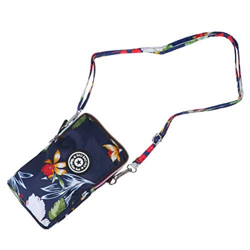 Fenical borsa con cerniera telefono motivo floreale borsa tracolla moda donna cellulare collo appeso borse per shopping navy