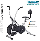Leeway Air Bike  Exercise Cycle  Moving Handle Gym Bike  Cardio Fitness Work Out  Cross fit Equipment  Dual Action Airbike for Home (Back Support Seat)