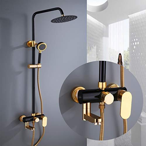 YUI Duschset Duscharmatur Duschsystem mit Regendusche und Duschkopf Handbrause für Badezimmer Dusche Multifunktional Aluminium Schwarz und Gold