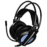 Venoro Gaming Headset for Xbox One S, PS4, PC with LED Light Breathing Earmuffs, Adjustable Microphone, Volume Control & Noise Canceling, Over Ear Stereo 3.5mm Headphones for Laptop, Nintendo Switch