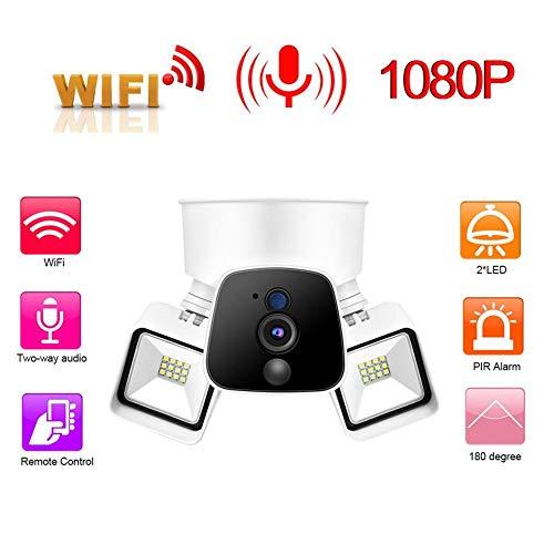 Oumij Überwachungskamera 100-240 V PIR Alarm 1080 P HD WiFi Drahtlose Handy-Fernüberwachung Garten Lichter Kamera Allround-Objektiv Zwei-Wege-Stimme(EU)