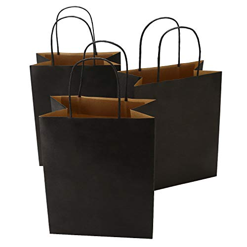 Road 8x4.75x10.5 Inches 50pcs Black Kraft Paper Bags with Handle, Small Shopping Bag, Merchandise Bag, Party Bag