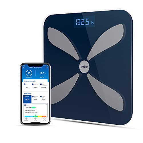 Wellue Smart Body Fat Scale-Digital BMI Body Weight Scale for Fitness and Health Tracking, High Precision Bathroom Wireless Weighing Scale, Bluetooth Body Composition Monitor with APP, 396 lbs