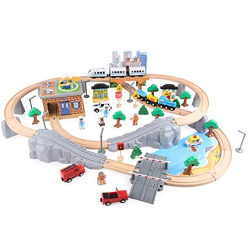 Pistas de Tren Conjunto Completo 95 PCS Tren Set para niños pequeños con Pistas de Tren Se Adapta a los niños Tren de Juguete de Madera para niños y niñas de 3,4,5 Hijos Vía de Tren de Madera
