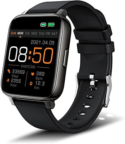 Bengux Smartwatch,Orologio Fitness con1.69 Full Touch, Impermeabile IP68, Cardiofrequenzimetro da Polso, Activity Tracker Sportivi Contapassi Controllo Musica Cronometro per Android iOS (Nero)