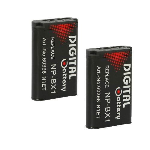 2x Akku NP-BX1 kompatibel mit Sony DSC-H400, DSC-HX50, DSC-HX50V, DSC-HX60, DSC-HX60V, DSC-HX300, DSC-HX400, DSC-HX400V, DSC-RX1, DSC-RX1R, DSC-RX100, DSC-RX100 II, DSC-RX100 III, DSC-WX300, DSC-WX350, Action-Cam HDR-AS15, HDR-AS30V Action Cam, HDR-AS100VR Action Cam, Musik-Videorecorder HDR-MV1 - 1000mAh Li-ion