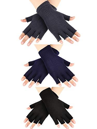 SATINIOR 3 Pares de Guantes de Medio Dedo Guantes sin Dedos de Invierno Guantes de Punto para Hombres Mujeres (Color Set 1)