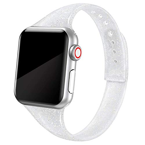 SWEES Sport Band Compatible with iWatch 38mm 40mm 42mm 44mm, Shiny Bling Glitter Soft Slim Thin Narrow Small Replacement Silicone Strap Compatible for iWatch Series 6 5 4 3 2 1 SE Sport Edition Women