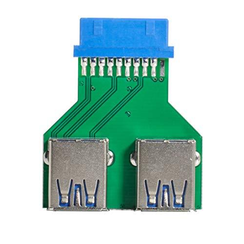 Xiwai Dual USB 3.0 A tipo hembra a placa base 20/19 Pin caja ranura adaptador PCBA