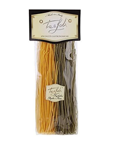 Tealdi Taglioni al Paglia e Fieno, Pasta mit Ei und Spinat, Gelb-Grüne Nudelkombination, Tagliatelle, Nudeln Bunt 250 g